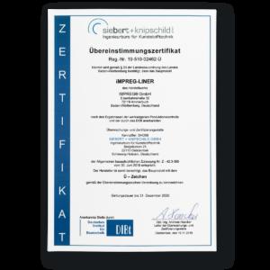 Übereinstimmungs-Zertifikat IMPREG Liner