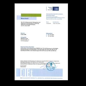 Verlängerung Allgemeine bauaufsichtliche Zulassung des DIBt Berlin IMPREG Liner GL16